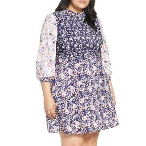 1901 Colorblock Floral Plus Size Dress